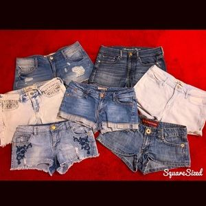 Selling Lot of 7 Pair Denim Shorts, Sizes 5-7